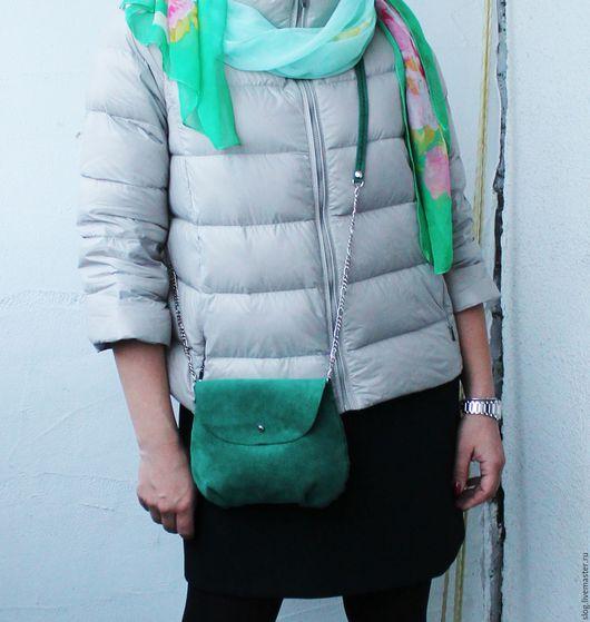 Женские сумки ручной работы. Ярмарка Мастеров - ручная работа. Купить Сумочка из натуральной замши ручной работы. Handmade. Зеленый