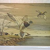 """Картины и панно ручной работы. Ярмарка Мастеров - ручная работа """"Летят утки"""" шпон-маркетри. Handmade."""