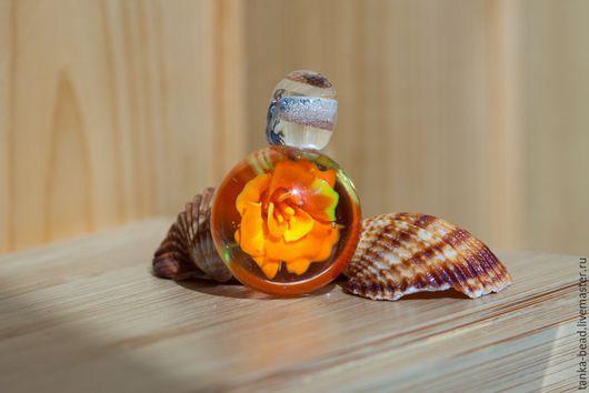 """Кулоны, подвески ручной работы. Ярмарка Мастеров - ручная работа. Купить кулон лэмпворк """"Оранжевая роза"""". Handmade. Оранжевый"""