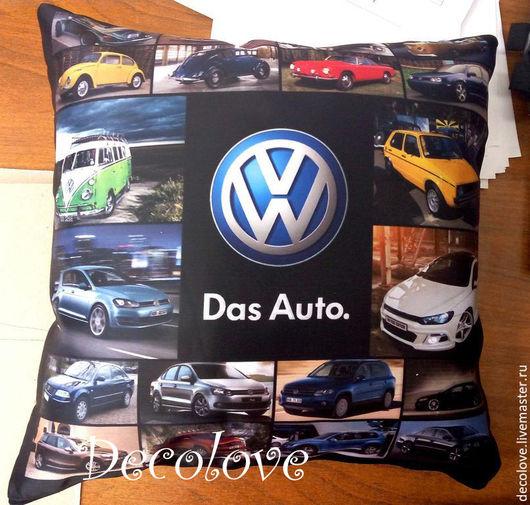 Автомобильные ручной работы. Ярмарка Мастеров - ручная работа. Купить Подушка с логотипом Фольксваген Volkswagen подарок для автолюбителя. Handmade.