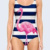 Одежда ручной работы. Ярмарка Мастеров - ручная работа Купальник Фламинго, боди, слитный купальник, купальник для гимнастики. Handmade.