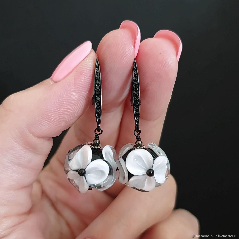 'White petals ' lampwork flower earrings, Earrings, Krasnodar,  Фото №1