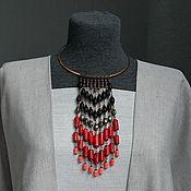 Украшения ручной работы. Ярмарка Мастеров - ручная работа Колье - галстук из коралла и шунгита. Handmade.