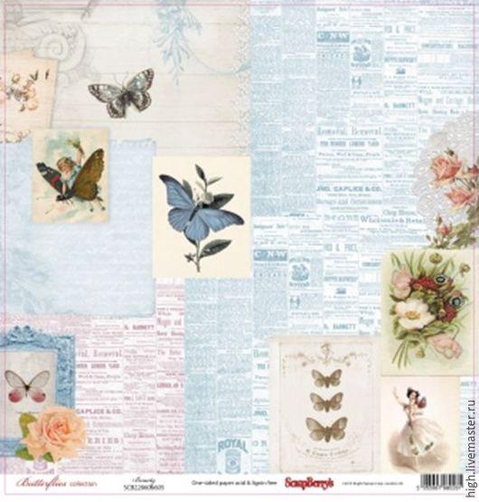 Бумага для скрапбукинга 30,5х30,5 см 190 гр/м односторон Бабочки Красота  Арт. SCB220606605