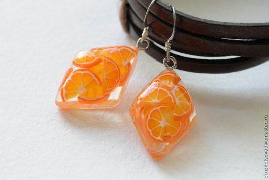 """Серьги ручной работы. Ярмарка Мастеров - ручная работа. Купить Серьги """"Витамин С: апельсин"""". Handmade. Оранжевый, оранжевое настроение"""