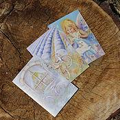 Открытки ручной работы. Ярмарка Мастеров - ручная работа Набор открыток  Лазурь и лаванда. Handmade.