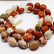 Украшения handmade. Livemaster - original item Beads of white and red Jasper 46 cm. Handmade.