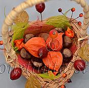 Свадебный салон ручной работы. Ярмарка Мастеров - ручная работа Декоративная осенняя корзиночка для обручальных колец. Handmade.