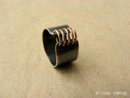 Кольца ручной работы. Ярмарка Мастеров - ручная работа. Купить Кольцо Город из серебра с голдфилдом. Handmade. Золотой, кольцо серебряное