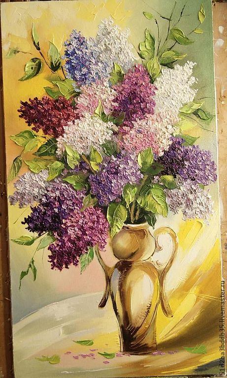 Картины цветов ручной работы. Ярмарка Мастеров - ручная работа. Купить сирень. Handmade. Картина, картина для интерьера, цветы, сирень