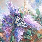 Картины и панно handmade. Livemaster - original item Lilacs and swallowtail butterfly. Modern oil painting. Handmade.