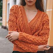 Одежда handmade. Livemaster - original item cardigans: Women`s knitted cotton cardigan in Golden caramel. Handmade.