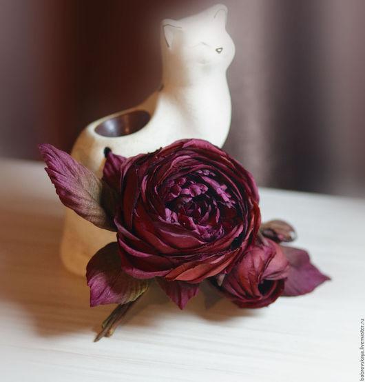 Комплекты аксессуаров ручной работы. Ярмарка Мастеров - ручная работа. Купить Украшение ручной работы.. шелковый цветок. Handmade. Бордовый
