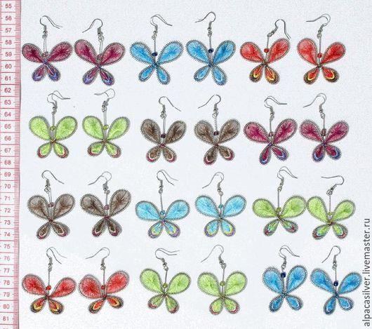 Серьги ручной работы. Ярмарка Мастеров - ручная работа. Купить Серьги из ниток в виде бабочек. Handmade. Разноцветный, сережки, серьги
