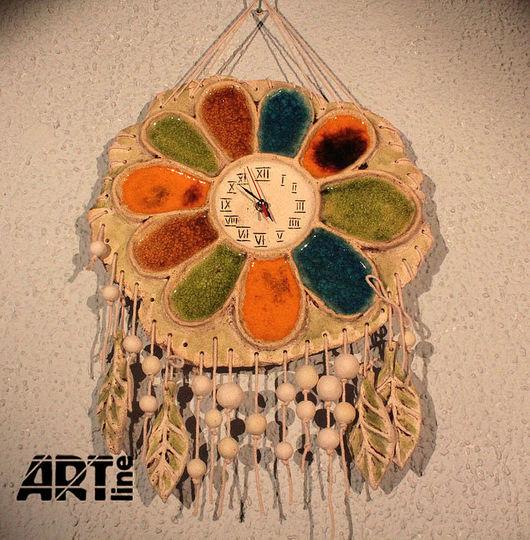 """Часы для дома ручной работы. Ярмарка Мастеров - ручная работа. Купить Керамические часы """"Раз ромашка, два ромашка"""". Handmade."""