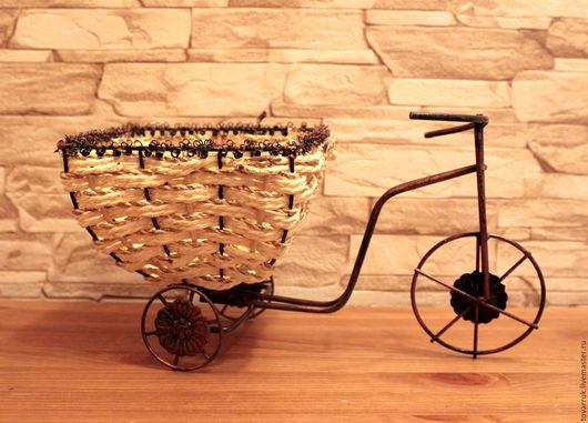 Материалы для флористики ручной работы. Ярмарка Мастеров - ручная работа. Купить Кашпо-велосипед для композиций. К007. Handmade. Бежевый, ваза