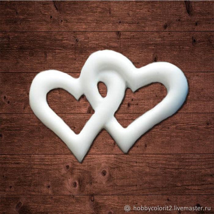 Два сердца, Размер 28х18 мм, Материалы, Москва,  Фото №1