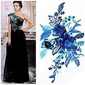 Материалы для творчества handmade. Livemaster - original item Blue Lace applique for clothing decoration. Handmade.