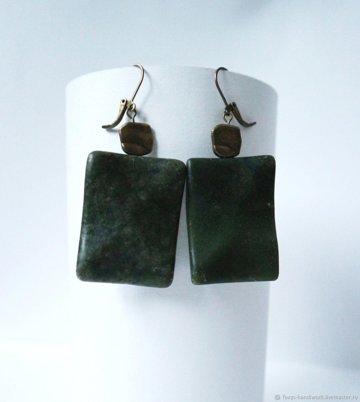 Large earrings with green jade, Earrings, Tula,  Фото №1