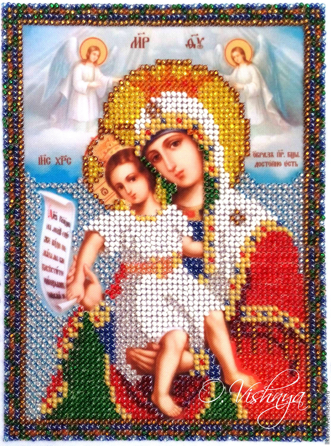 Beaded embroidered icon of the most Holy mother of God 'Merciful', Icons, Novosibirsk,  Фото №1
