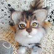 Войлочная игрушка ручной работы. Ярмарка Мастеров - ручная работа котенок Мейн-Куна валяный. Handmade.