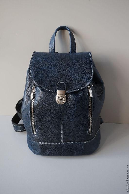 Рюкзаки ручной работы. Ярмарка Мастеров - ручная работа. Купить Тёмный кобальт 31 см. Handmade. Тёмно-синий