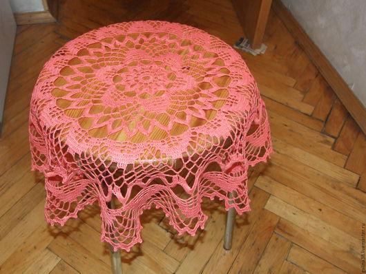 Текстиль, ковры ручной работы. Ярмарка Мастеров - ручная работа. Купить Мини-скатерть коралловая. Handmade. Коралловый, салфетка крючком