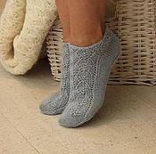 Аксессуары handmade. Livemaster - original item Tracery wool short socks blue