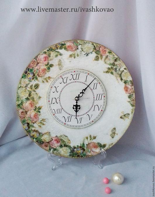 Часы для дома ручной работы. Ярмарка Мастеров - ручная работа. Купить Часы Розы на белом.... Handmade. Розы, розовый