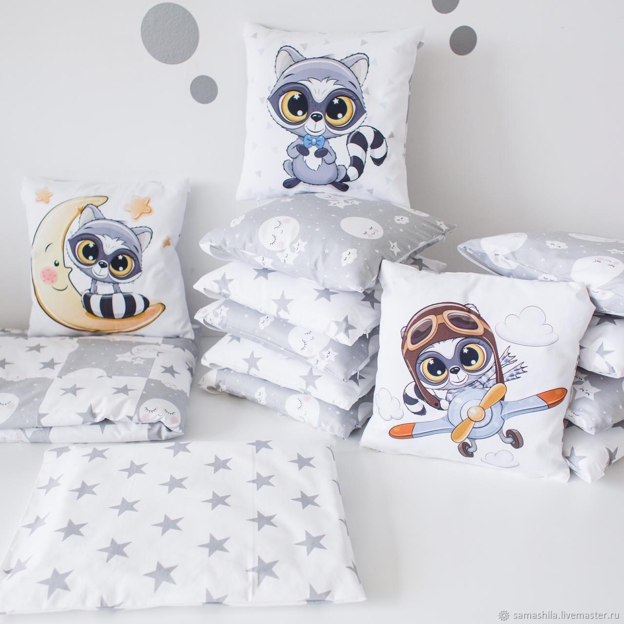 Set in a crib for a newborn 'Raccoons', Linen in the crib, Krasnoyarsk,  Фото №1