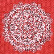 Цветочное кружево красное (13308787) - салфетка для декупажа