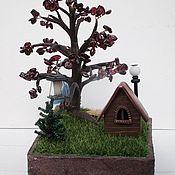 Для дома и интерьера handmade. Livemaster - original item Interior elements: Composition House (house, tree, souvenir). Handmade.