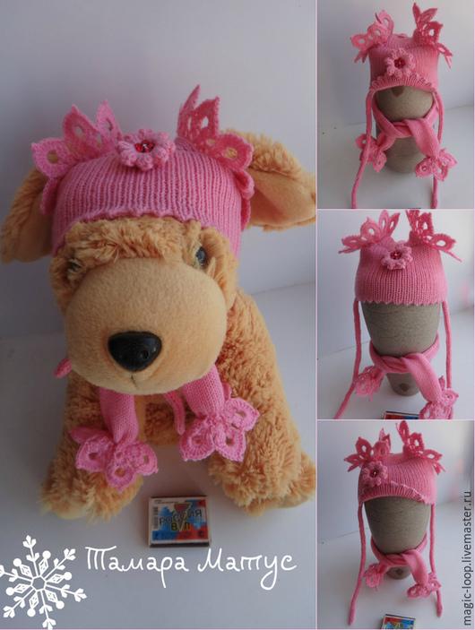 Шапочка и шарфик  для пинчера (девочки) выполнены из 100% шерстяной пряжи. Авторская работа Тамары Матус. Ярмарка Мастеров