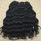 Материалы для творчества handmade. Livemaster - original item Hair pieces natural mohair (goat) black. Handmade.