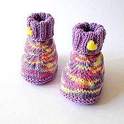 """Работы для детей, ручной работы. Ярмарка Мастеров - ручная работа Пинетки для новорожденных вязаные """"Мой малыш""""(меланж). Handmade."""