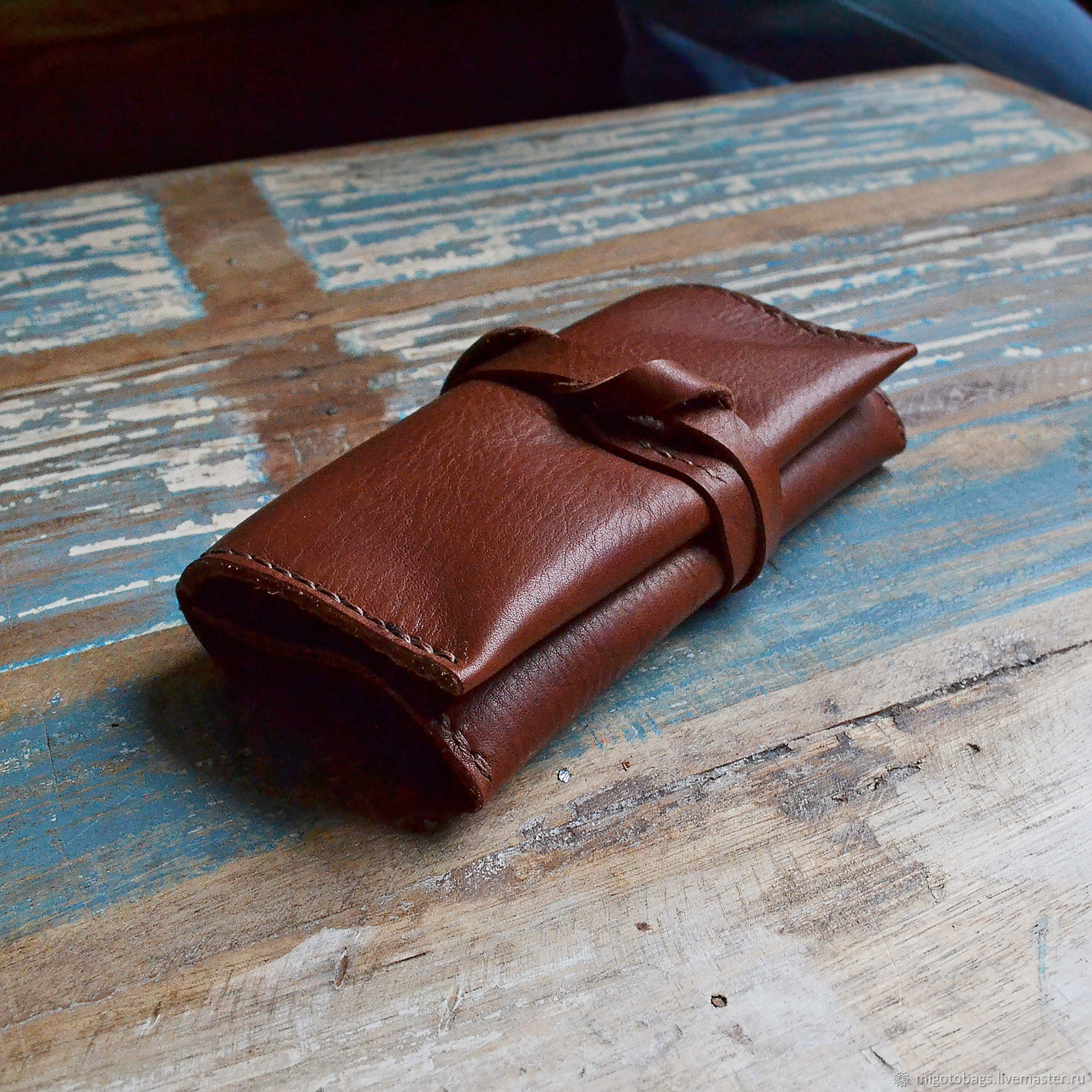 a pouch for tobacco brown genuine leather, Classic Bag, St. Petersburg,  Фото №1
