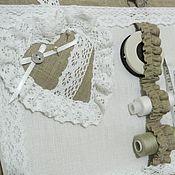 Материалы для творчества handmade. Livemaster - original item Big box box organizer for crafts with cotton lace Provence. Handmade.
