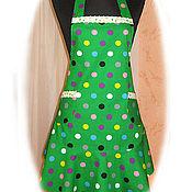 """Для дома и интерьера ручной работы. Ярмарка Мастеров - ручная работа фартук """"зелёный в горох"""". Handmade."""