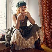 Одежда handmade. Livemaster - original item Set boho linen sundress khaki and cotton skirt. Handmade.