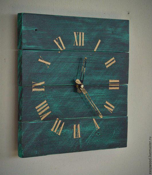 """Часы для дома ручной работы. Ярмарка Мастеров - ручная работа. Купить Часы настенные """"Малахит"""". Handmade. Комбинированный, лофт"""