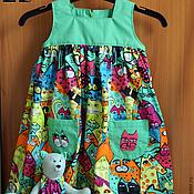 Работы для детей, ручной работы. Ярмарка Мастеров - ручная работа Нарядное зеленое детское платье и кошечка тильда. Handmade.