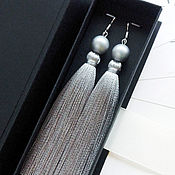 Украшения handmade. Livemaster - original item Tassel earrings with gray pearls. Handmade.