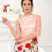Одежда handmade. Livemaster - original item Pink lace dress with embroidery. Handmade.