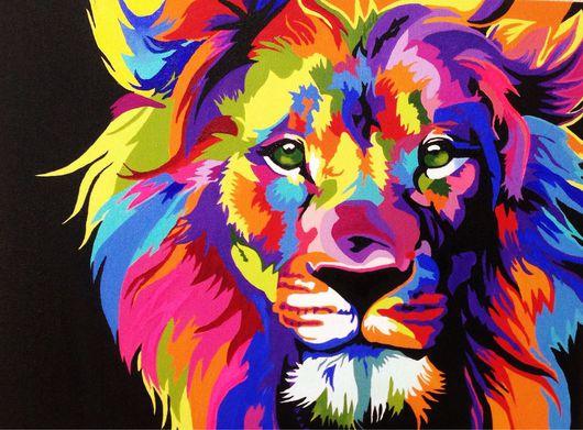 """Животные ручной работы. Ярмарка Мастеров - ручная работа. Купить Картина маслом """"Радужный лев"""". Handmade. Лев, радужные цвета"""