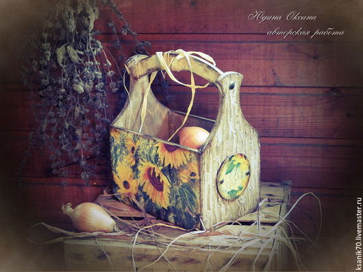 Короб `Солнечный цветок`.Автор Юдина Оксана. ручная работа.Автор Юдина Оксана. Короб кухонный.
