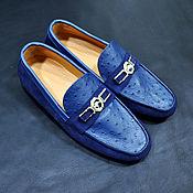 Обувь ручной работы handmade. Livemaster - original item Men`s moccasins, made of genuine ostrich leather and natural suede.. Handmade.