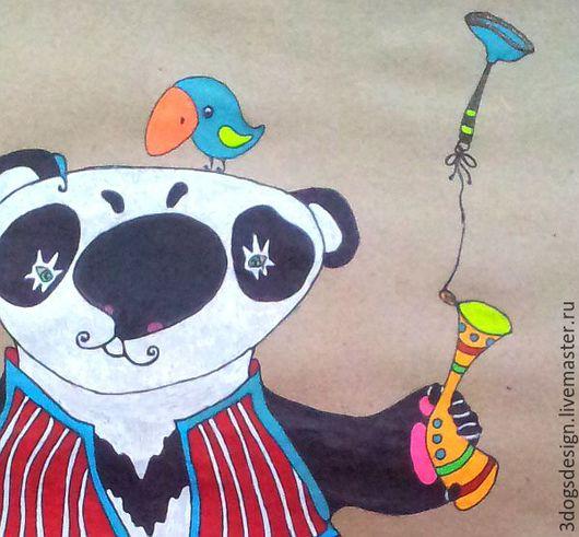 Животные ручной работы. Ярмарка Мастеров - ручная работа. Купить Пандит! Позитивный рисунок для детей и взрослых. Handmade. Комбинированный