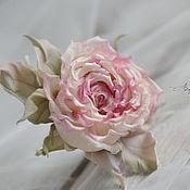 Свадебный салон ручной работы. Ярмарка Мастеров - ручная работа Брошь Роза цвета пудры и румян.. Handmade.