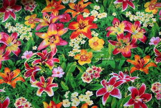 Шитье ручной работы. Ярмарка Мастеров - ручная работа. Купить Ткань хлопк лилии 50х40 см. Handmade. Зеленый