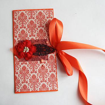 Открытки ручной работы. Ярмарка Мастеров - ручная работа Конверт для   билетов, сертификата -  Красный цветок. Handmade.
